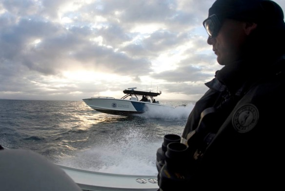 US Customs & Border Protection marine unit patrols waters near US/Mexico border.